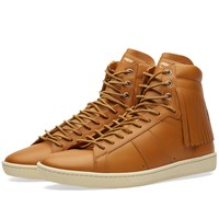 Saint Laurent Fringe Leather High Top Sneaker Brown