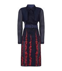 Bcbgmaxazria Embroidered Mesh Trench Coat Female Navy