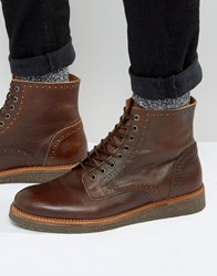 Asos Chelsea Brogue Boots With Cork Sole In Tan Leather Tan