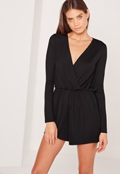 Missguided Tall Wrap Front Crepe Playsuit Black Black