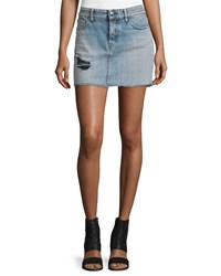 Iro Chicago Stretch Denim Mini Skirt Light Blue Women's