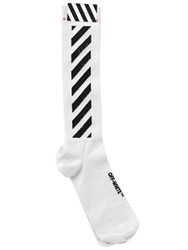 Off White Striped Cotton And Lurex Knit Socks