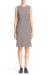 Max Mara Women's 'Cesy' Lambskin Leather Trim Wool Jersey Sheath Dress Albino