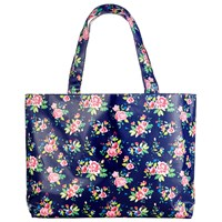 John Lewis Large Classic Floral Print Craft Shopper Bag Blue