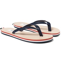 Thom Browne Striped Leather Flip Flops Navy