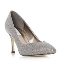 Untold Brookel Sweetheart Cut Court Shoes Silver