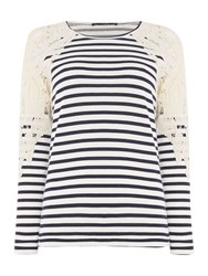 Oui Long Sleeve Stripe Top With Lace Shoulder Multi Coloured
