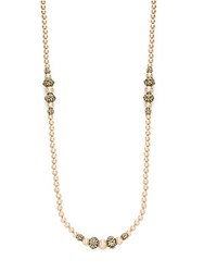 Heidi Daus Faux Pearl And Crystal Strand Necklace Taupe