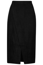 Knitted Wrap Midi Skirt By Jovonna Black