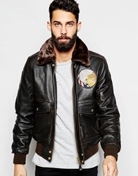 Schott Leather Flight Jacket With Faux Fur Collar And Patches Brown