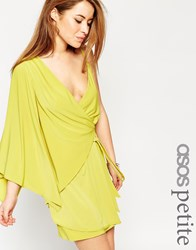 Asos Petite Asymmetric One Shoulder Wrap Mini Dress Green