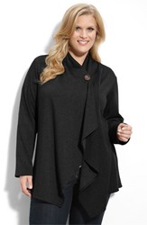 Plus Size Women's Bobeau One Button Fleece Cardigan Black Black