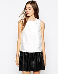 Warehouse Woven Pleat Shell Top White