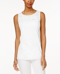 Charter Club Sleeveless Crochet Yoke Top Only At Macy's Bright White
