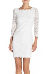 Adrianna Papell Women's Lace Overlay Sheath Dress Ivory