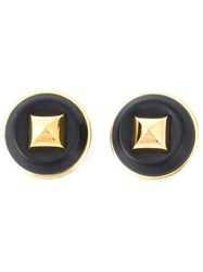 Hermes Vintage Leather Stud Earrings Black