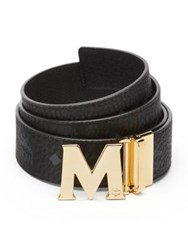 Mcm Textured Leather Belt Ruby Red Cognac Black