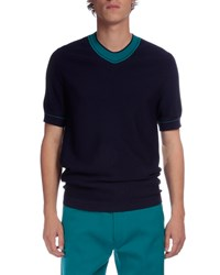 Berluti Contrast Collar Short Sleeve Sweater Blue Size 52