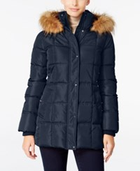 Tommy Hilfiger Faux Fur Trim Hooded Quilted Puffer Coat Only At Macy's Navy