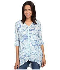 Miraclebody Jeans Shea Waterlily Print Tunic W Body Shaping Inner Shell Aqua Green Women's Blouse Blue