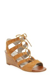 Hinge Women's 'Basin' Ghillie Lace Wedge Sandal Chestnut Suede
