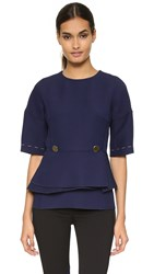 Derek Lam Peplum Top With Buttons Navy