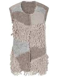 Oui Knitted Gilet Light Brown Camel