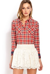 Forever 21 Square Dance Plaid Shirt Red Yellow