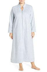 Carole Hochman Plus Size Women's Front Zip Quilt Robe Grey