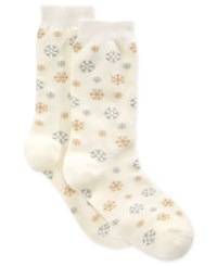 Charter Club Women's Sparkle Snowflake Socks Only At Macy's Ivory