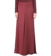 Hellessy Draped Silk Maxi Skirt Matt Maroon