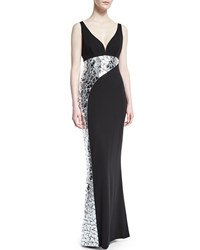 Cd Greene Sleeveless Crackled Mirror Crepe Gown Black Size 10 Black Silver