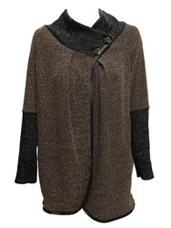 Feverfish Asymmetric Two Button Cardigan Brown