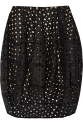 Oscar De La Renta Bubble Cutout Wool Felt Mini Skirt Black