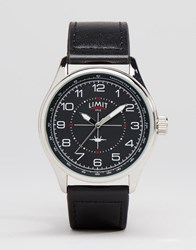 Limit Pilot Leather Watch In Black Black