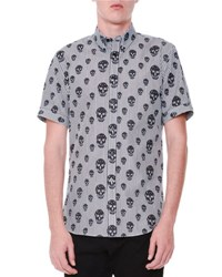 Alexander Mcqueen Skull Print Striped Short Sleeve Shirt Black White