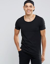 Asos Longline Muscle T Shirt With Scoop Neck In Black Black