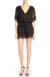 Willow And Clay Women's Plunge Neck Lace Romper