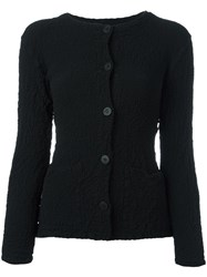 Issey Miyake Cauliflower Textured Button Down Cardigan Black