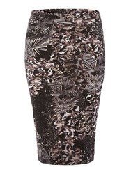 Label Lab Hannah Digi Print Midi Skirt Black