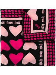 Mcq By Alexander Mcqueen Heart Print Scarf Pink And Purple