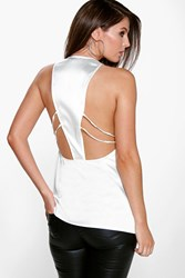Boohoo Woven Silky Multi Strappy Back Top Ivory