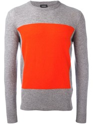 Diesel Colour Block Jumper Grey