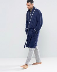 Asos Loungewear Towelling Dressing Gown With Piping Navy