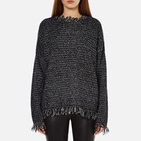 Michael Michael Kors Women's Fringe Trim Sweatshirt Black