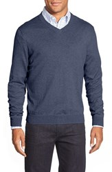 Men's Big And Tall Nordstrom Cotton And Cashmere V Neck Sweater Blue Estate Heather