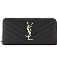 Saint Laurent Monogram Quilted Leather Zip Around Wallet Nero