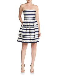 Erin By Erin Fetherston Carolina Striped Strapless Fit And Flare Dress Navy Multi