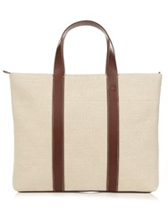 Frescobol Carioca Leather Trimmed Canvas Holdall Beige