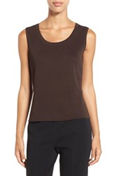 Ming Wang Women's Scoop Neck Knit Tank Coffee